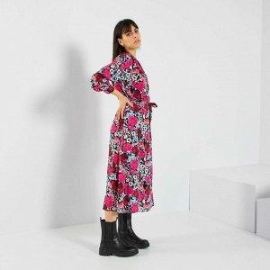 Длинное платье в цветочек - черный/розовый