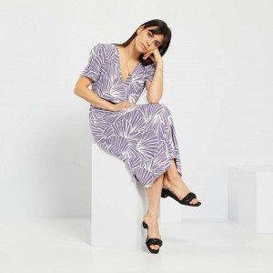 Платье миди с рисунком - фиолетовый