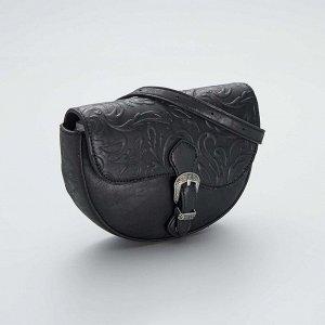Тисненая сумочка-бананка - черный