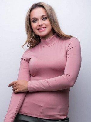 Водолазка женская грязно-розовая утеплённая