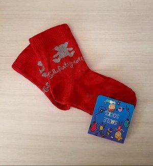 Носочки красные с мишкой
