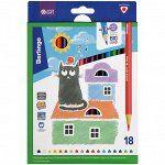 """Карандаши цветные Berlingo """"SuperSoft. Жил-был кот"""", 18цв., трехгран., заточен., картон, европодвес"""