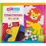 Пластилин ArtSpace, 10 цветов, со стеком, картон