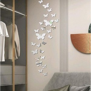 "Наклейка интерьерная зеркальная ""Бабочки"" 3D акрил 30 шт 11х15 см 7,5х10 см 5,3х7 см"