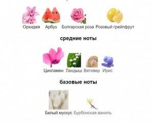 Распив Нежнейшими цветочными оттенками утонченной экзотической орхидеи и пьянящей бархатисто-пряной розы, вкусными сладкими, сочными акцентами медового арбуза и свежестью грейпфрута открывается аромат