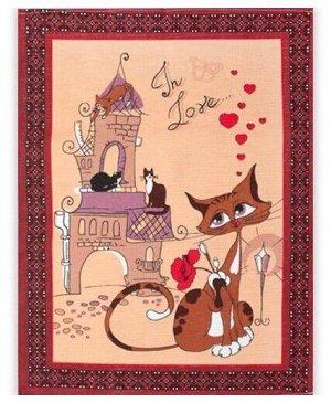 Коты Полотенце 50х63  Вафельное