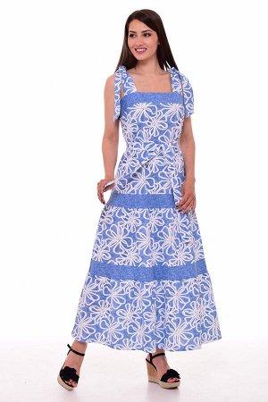 Сарафан женский 4-086в (цветы+голубой)