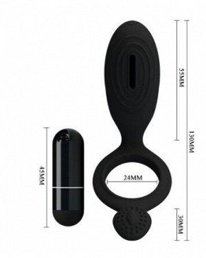 Насадка с вибрацией ETHOL (кольцо эрекционное) цвет чёрный