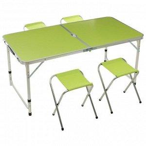 Набор мебели туристической (стол 120х60х55/60/70 см, стул 29х35х30 см), цвет салатовый