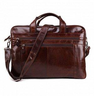 Bulchut Большая многофункциональная мужская сумка из натуральной кожи с очень вместительными отделениями закрытыми на молнию. Впереди карманы на молнии. Внутри помещаются ноутбук, небольшие гаджеты и