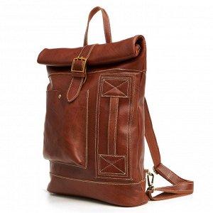 Burgen Большая многофункциональная мужская сумка из натуральной кожи с очень вместительными отделениями. С возможностью носить как рюкзак. Впереди объемный карман и доп.ручка. Есть внутреннее отделен