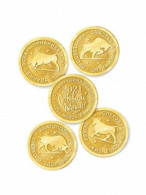 Шоколадные монеты «Бык» золото