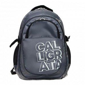 Рюкзак молодежный эргоном. мягкая спинка Calligrata 47х32х16 см, серый