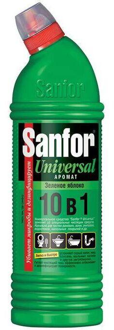 """SANFOR Universal 10 в1 Гель д/разных поверхностей """"Зелёное яблоко"""" 750 мл."""