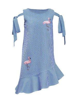 Платье Ткань: Кулирка. 100% хлопок Платье-силуэт трапеция, без рукава с завязками на бант. Внизу косой волан, горловина и пройма обработаны обтачкой.