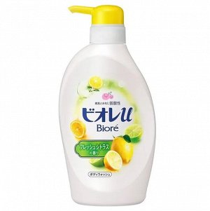 """336408 KAO """"Biore U"""" CITRUS Нежное жидкое мыло для тела с ароматом свежих цитрусовых 480 мл,"""