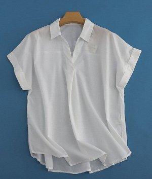 Женская блуза с коротким рукавом, цвет белый