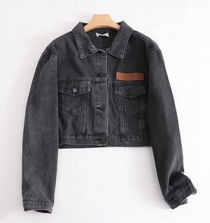 Женская джинсовая куртка, цвет черный