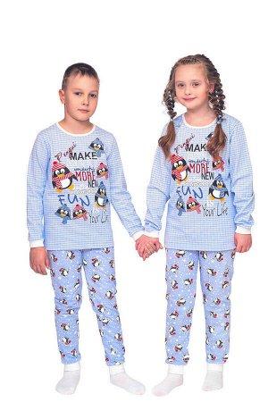 Пижама детская теплая, модель 318, трикотаж (Пингвины)