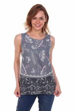 Блузка женская, модель 136, рогожка, хлопок 100 % (Кошки)