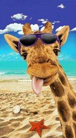 Полотенце вафельное пляжное 76*150 см (Жирафик 3 D)