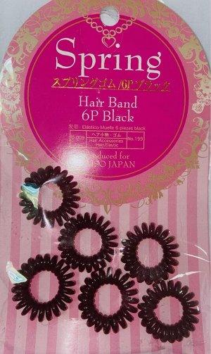 Резинка для волос силиконовая 6 шт.(черная)