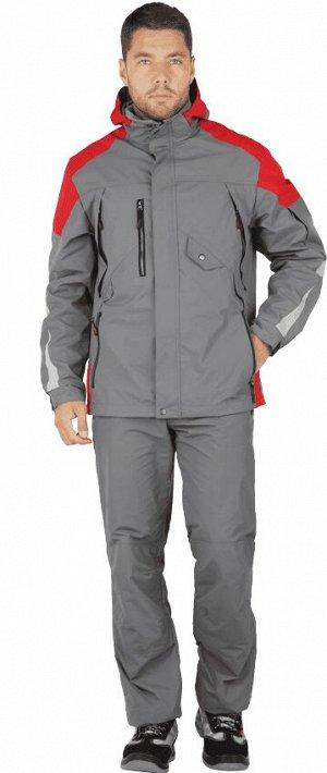Куртка-штормовка РЕСПЕКТ, серый-красный