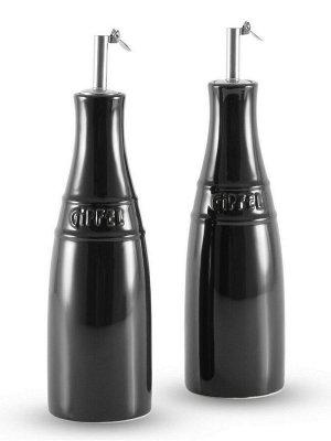 3923 GIPFEL Набор MAJOLICA из 2 бутылок для масла/уксуса  3,5х19см. Цвет: темно-зеленый. Материал: жаропрочная керамика