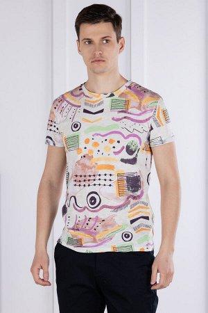 Футболка Модель: круглый вырез. Цвет: молочный. Комплектация: футболка. Состав: хлопок-100%. Бренд: LANKINS. Фактура: принт.