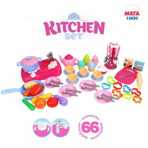 Кукхня с набором посуды ,66 пред,кор 49,3*38*12 см
