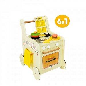 """Кухня детская игровая.Тележка-каталка с набором посуды """"Гриль Мастер"""" цв. желтый"""