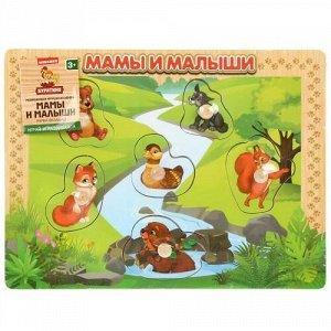 """Игрушка деревянная """"Буратино"""" Вкладыш Животные Мамы и Малыши,2*30*22 см"""