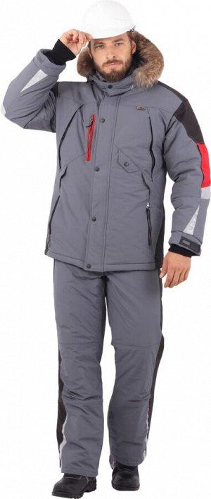 Куртка ХАЙ-ТЕК зимняя, серый-красный-черный