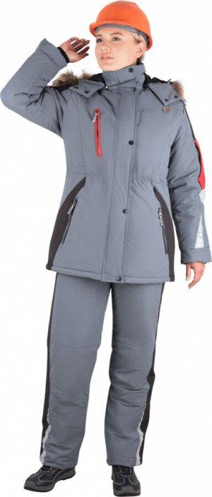 Куртка ХАЙ-ТЕК зимняя, серый-красный-черный, женская