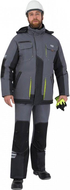 Куртка ЭДВАНС зимняя, серый-т.серый-лимонная отделка