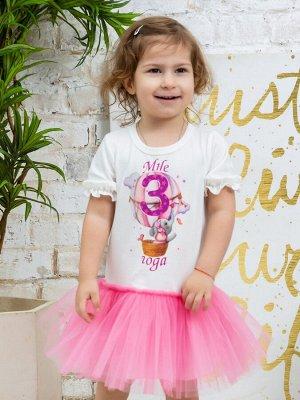 """Платье с принтом """"Мне 3 года"""" (Слоненок на шаре) короткий рукав"""