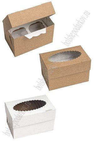 Коробка двухсторонняя бел/крафт с фигур. окошком MUF 2 10x16x10 см (25 шт)