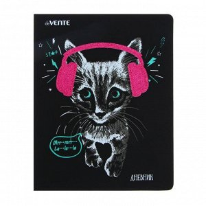 Дневник универсальный для 1-11 классов Music Kitty, твёрдая обложка из искусственной кожи, шелкография, объёмная аппликация, ляссе, 48 листов