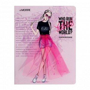 Дневник универсальный для 1-11 классов Who run the girl world , твёрдая обложка из искусственной кожи, объёмная аппликация, 48 листов