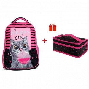Рюкзак каркасный, Hatber, Ergonomic light ,38 х 29 х 12.5, с термосумкой, Bubble-cat