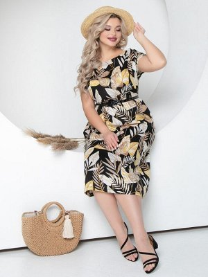 """Платье Платье свободного силуэта из легкой вискозной ткани со съемным поясом. - принт""""растительный"""" - горловина круглая - рукава цельнокроеные, короткие - в боковых швах прорезные карманы - низ раскл"""