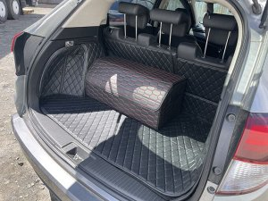 НОВИНКА ! Органайзер Большой Эко Кожа в багажник авто Черный с красный строчкой Akuma