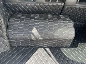 НОВИНКА ! Органайзер Большой Эко Кожа в багажник авто Черный с серой строчкой Akuma