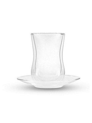 7177 GIPFEL Набор из 2 стеклянных стаканов 150мл с блюдцами, с двойными стенками. Материал - боросиликатное стекло