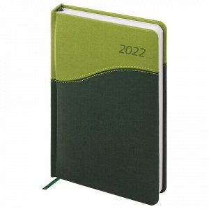 """Ежедневник датированный 2022 А5 138x213 мм BRAUBERG """"Bond"""", под кожу, зеленый/салатовый, 112738"""