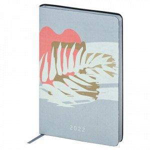 """Ежедневник датированный 2022 А5 138x213 мм BRAUBERG """"Canvas"""", под кожу, """"Botanica"""", 112843"""