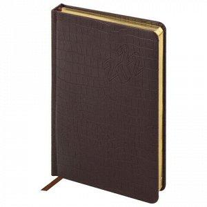 """Ежедневник датированный 2022 А5 138x213 мм BRAUBERG """"Comodo"""", под кожу, коричневый, 112742"""