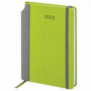 "Ежедневник датированный 2022 А5 138x213 мм BRAUBERG ""Mosaic"", под кожу, карман для ручки, зеленый, 112798"