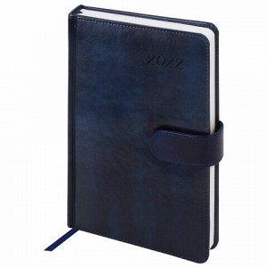 """Ежедневник датированный 2022 А5 138x213 мм BRAUBERG """"Legend"""", под кожу, магнитная застежка, синий, 112762"""