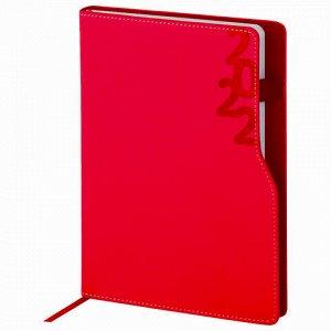 """Ежедневник датированный 2022 А5 138x213 мм BRAUBERG """"Up"""", под кожу, софт-тач, держатель для ручки, бордовый, 112805"""